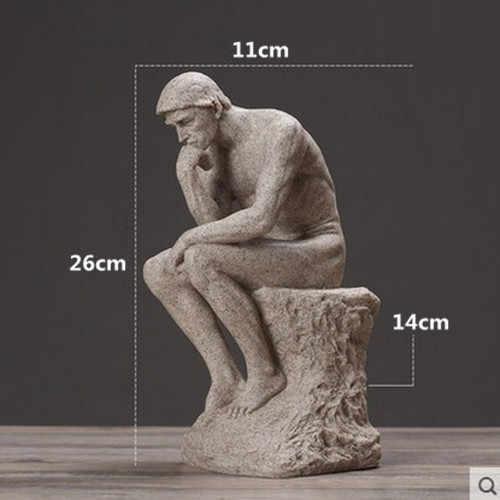 1 Pc Rodin the Thinker รูปปั้นและประติมากรรม Fine Art ชายรูปเปลือยยุโรปเรซิ่น Figurine เดสก์ท็อปงานฝีมือตกแต่งของขวัญ