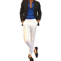 Moda uomo Casual Slim Fit Dritto Piatto di Ferro Bianco Pantaloni Gratis per la Festa Nuziale Con Il Nuovo Stile O Qualsiasi Altra Parte Dei Pantaloni degli uomini