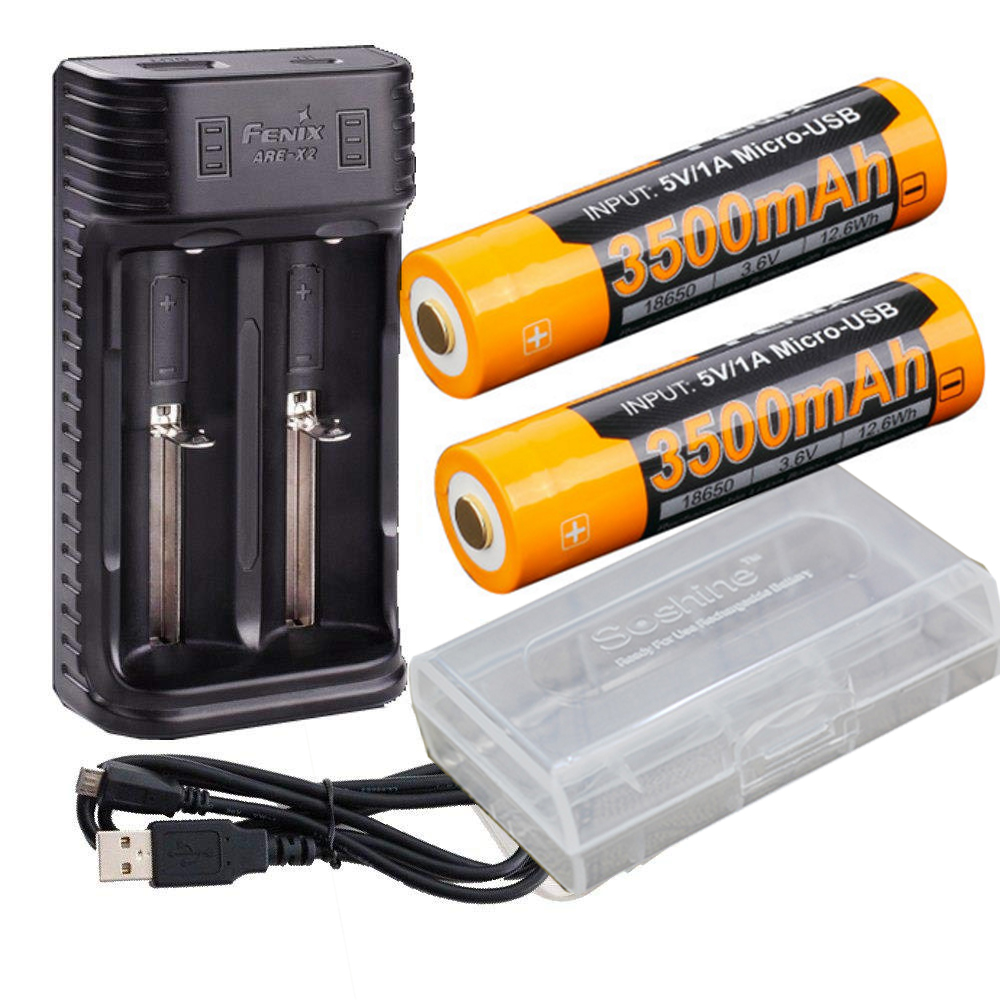 Fenix ARE X2 battery charger USB Powered two Fenix ARB L18 3500 Li ion rechargeable 18650