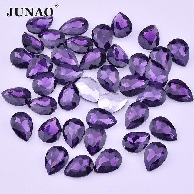 JUNAO 13 x 18 mm Dark Purple Crystal Glass Point Rhinestones Non Hotfix  Drop Stones Glue af37ff9dcb0a