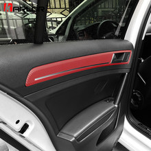 Interior Door Handle Chrome Panel Trim Carbon Fiber Protection Film Sticker Car Styling For Volkswagen VW Golf 7 MK7 Accessories(China)