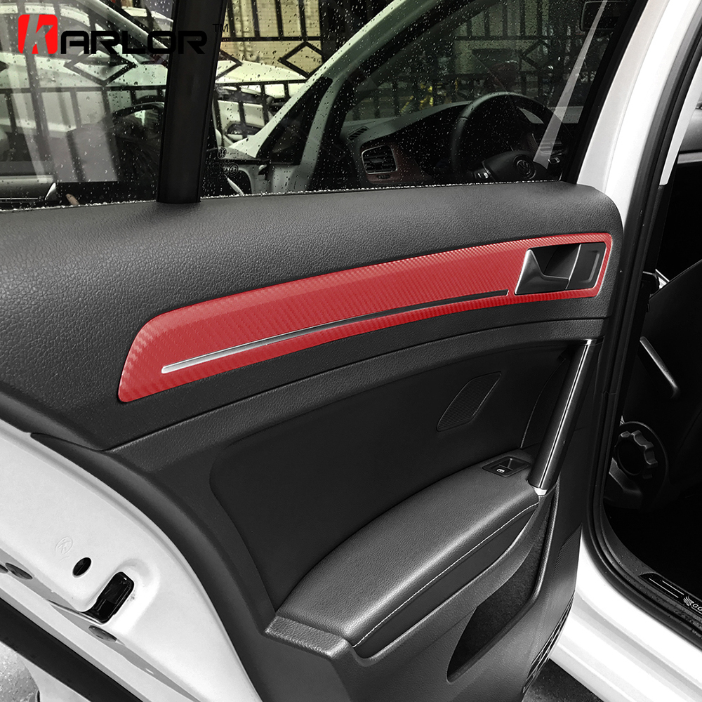 Interior Door Handle Chrome Panel Trim Carbon Fiber Protection Film <font><b>Sticker</b></font> Car Styling For Volkswagen <font><b>VW</b></font> <font><b>Golf</b></font> <font><b>7</b></font> MK7 Accessories image