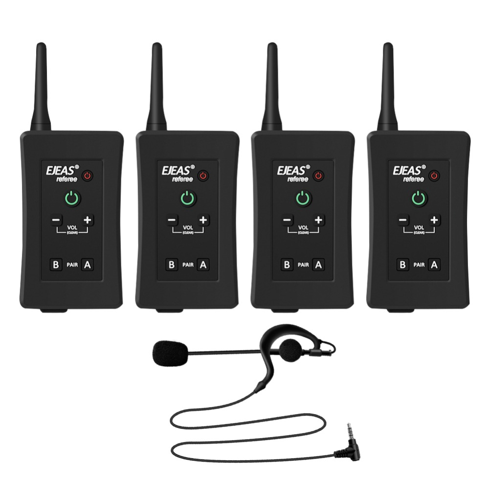 4PCE FBIM Football Handball Referees Communicator Wireless Bluetooth Intercom Headset Speaker Real Time between Four People