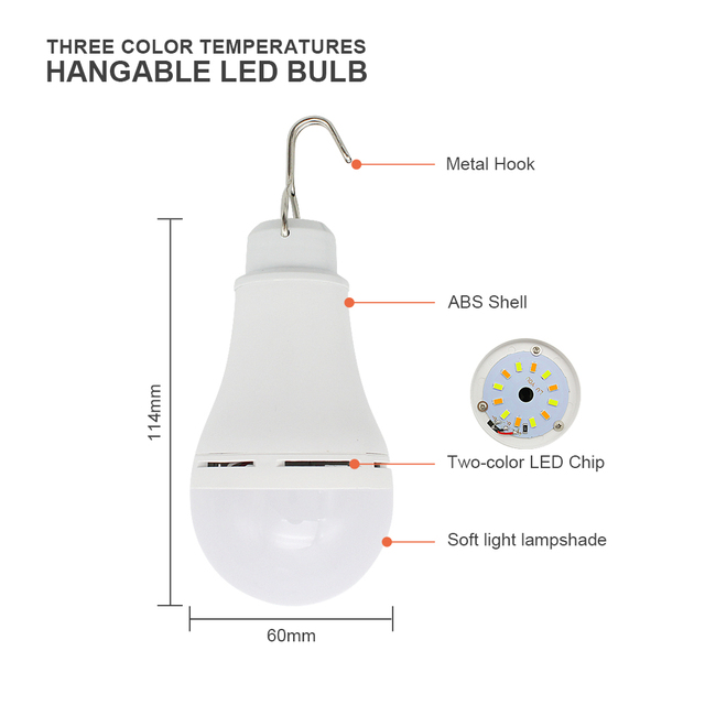 Outdoor USB LED Bulb Light 3 Colors Adjustable Dimmable Portable Lanterns For Camping Fishing Hiking Tent Emergency Night Lamp 2