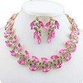 Свадебный комплект ювелирных изделий в Европе и Америке женская мода позолоченные ожерелье серьги кристалл Австрия аксессуары платье подарок