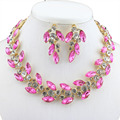 Wedding jewelry set in Europe and America fashion women's gold plated necklace earrings Austria crystal accessories dress gift