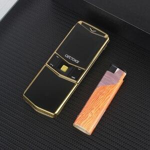 Image 2 - Lüks Telefon Metal Gövde Cectdigi V05 Küçük Mini Çift Sim Flip Slayt Cep Telefonu Bluetooth Sihirli Ses İbranice Rus Telefon