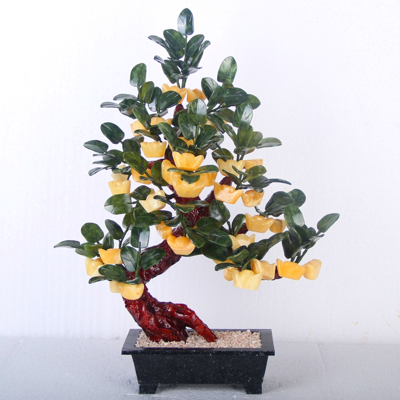 Natural jade ornaments crafts 38 Gold Topaz rich tree bonsai Home Furnishing living room accessories gifts realistic simulation dog ornaments garden courtyard home living room decorations crafts lucky animal decoration