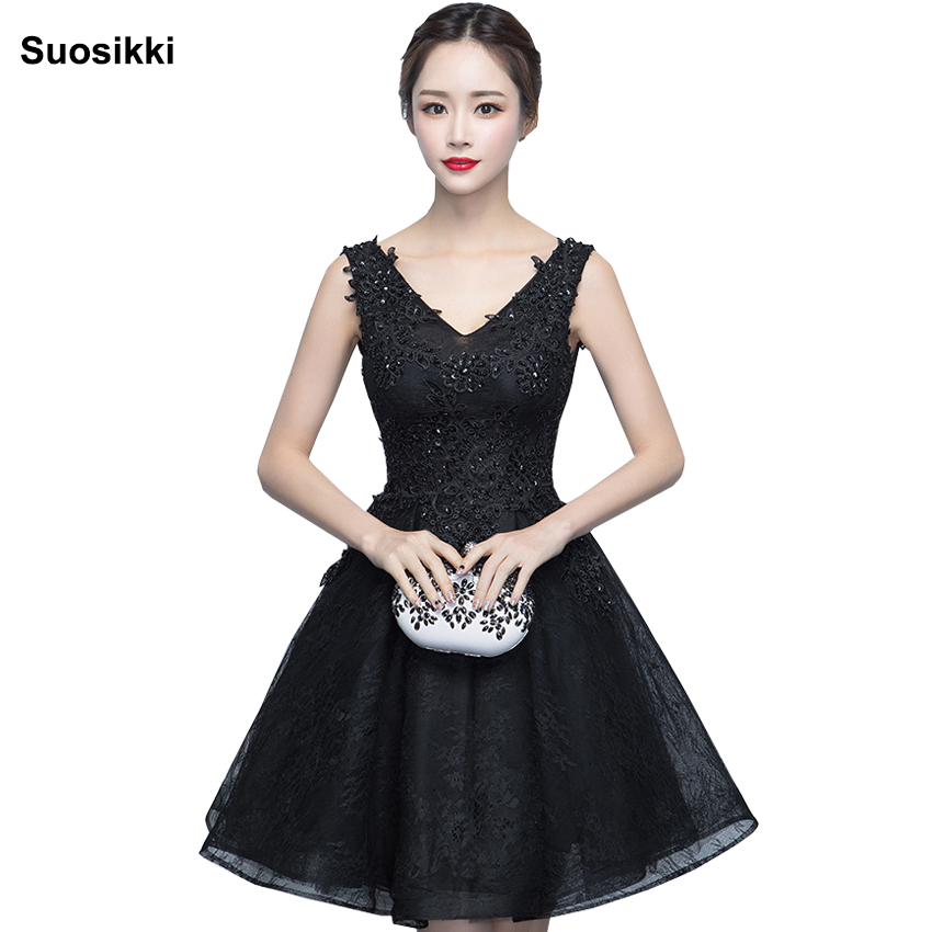 Black Lace Short Prom Dresses 2016 Puffy Lady Formal Party Dress