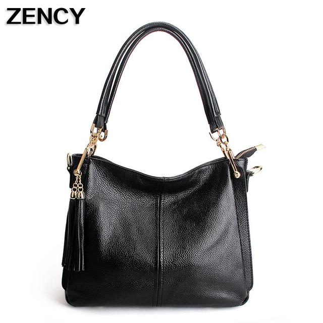 Genuine Leather Designer Women Bags Handbags Tassels Shoulder Bag Cowhide Leather Messenger Purse Satchel Ipad Casual