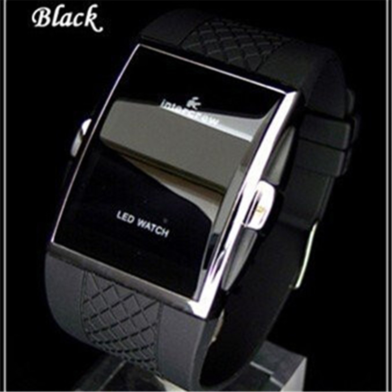 Sports Digital Watches 2020 New Stylish Men Black Rentangle Dial LED Electronic Clock Silicone Watchband Hot erkek kol saati