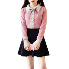 new winter skirt Korean fashion suits female college wind bows knitwear skirts two-piece outfit sweater top girl vestido design цена и фото