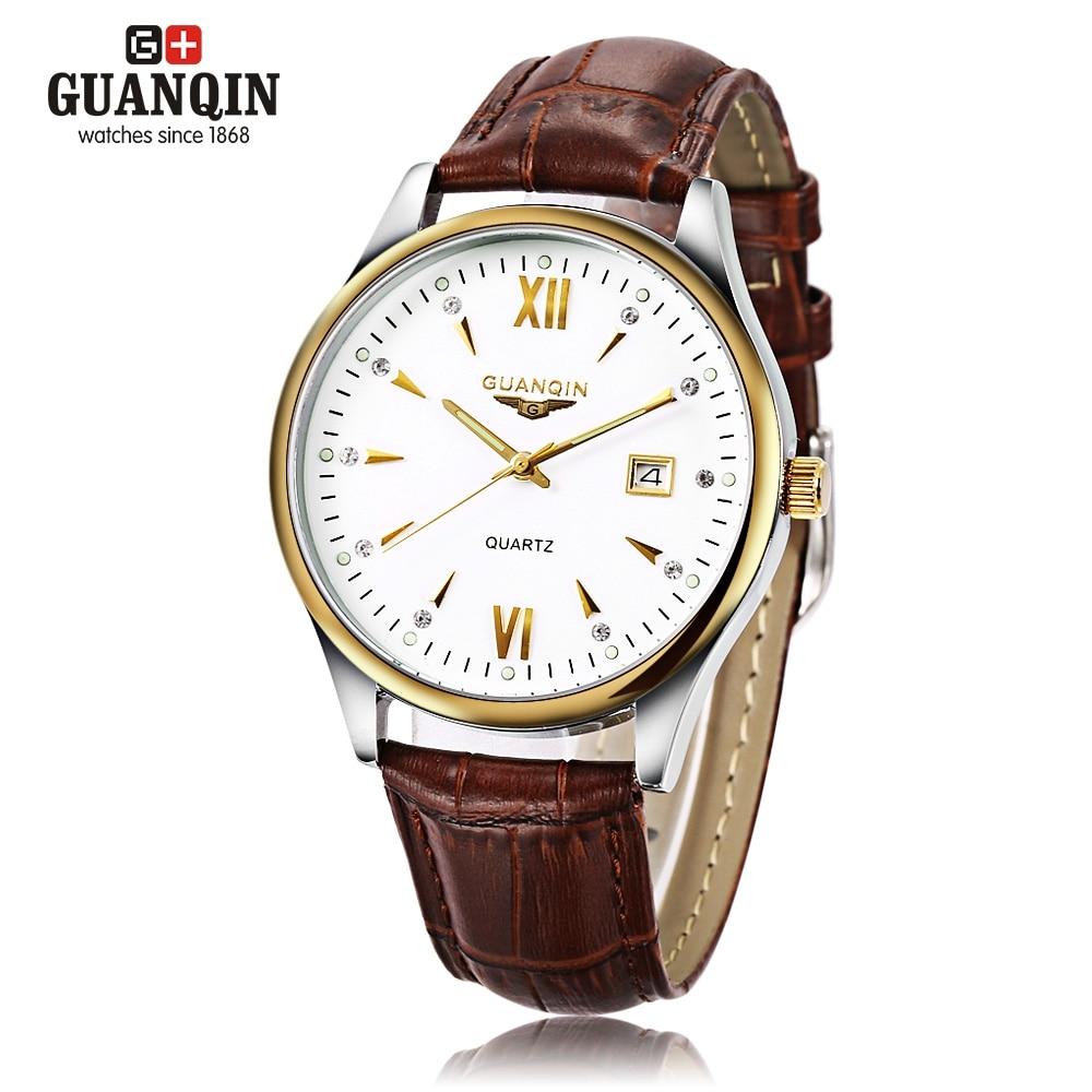 GUANQIN GQ80019 Male Leather Strap Quartz Watch Artificial Diamond Scales Calendar Wristwatch for Men jubaoli rotatable bezel male watch quartz leather strap wristwatch
