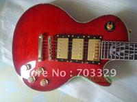 جديد العليا الأحمر مبطن أعلى القيثارات الغيتار الكهربائي الحرة shiping bindding الملونة لهب النار ترصيع وحة الفريتس 3 humbucker pickup