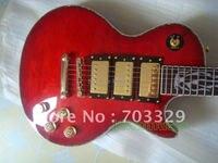 Yeni yüce kırmızı kapitone üst elektrik gitar ücretsiz shiping guitars renkli bindding alev yangın kakma klavyesine 3 humbucker pickup
