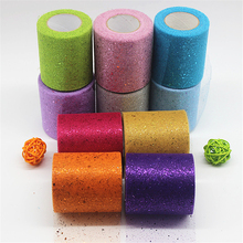 7.5cm x 25 Yards Wedding Table Decoration Colorful Glitter Shimmering Tulle Fabric Roll Decor Skirt Sewing Mesh Supplies