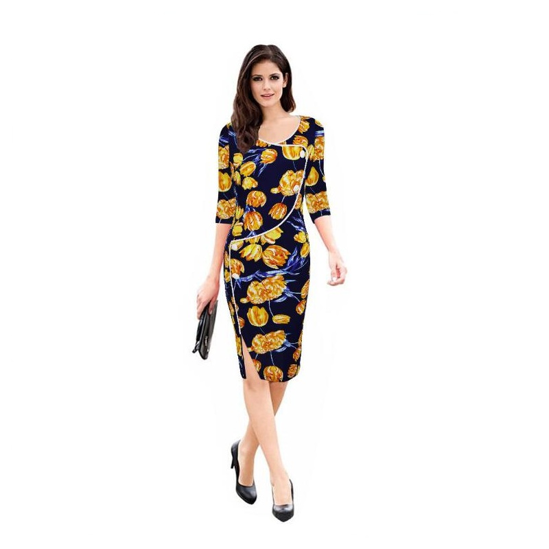New Hot Spring Autumn Elegant Printed Yellow Flower Half Sleeve Slim Work Office Business Dress Cocktail Party Sheath Dress