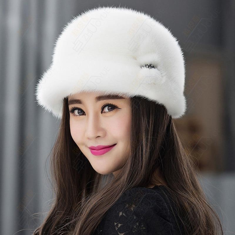 Nouveau chapeau de fourrure d'hiver de mode, chapeau de fedora de fourrure de vison pour les femmes chapeau à large bord chapeaux de mariage fascinator ZY09