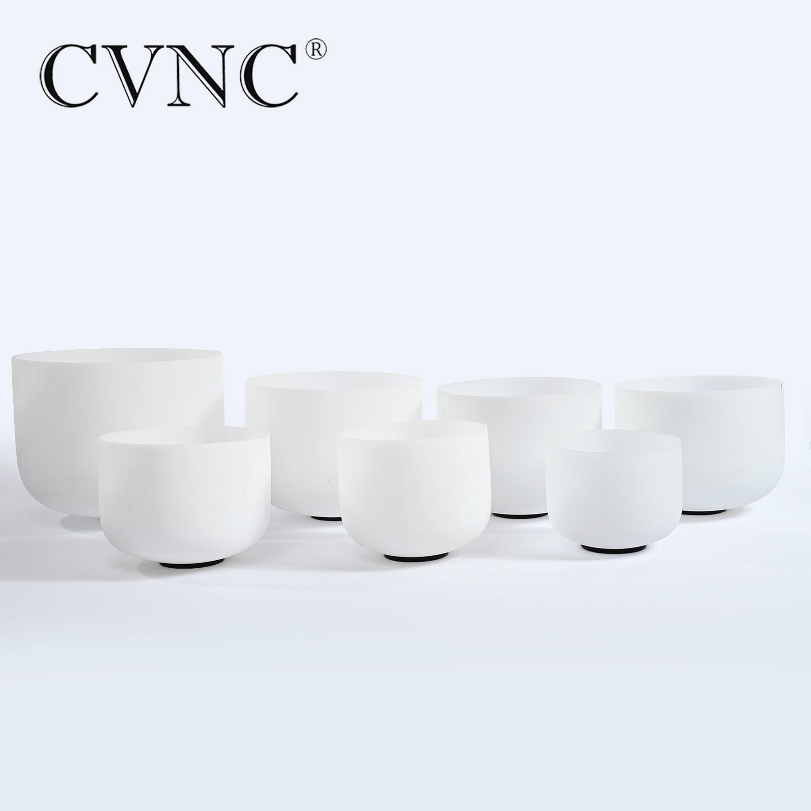 CVNC L'oreille Absolue ensemble de 7 pièces 6 -12 Givré Bol Chantant En Cristal De Quartz de Guérison