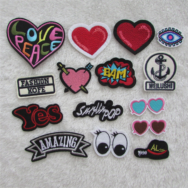Hot Sale Fashion Patch Hot Melt Adhesive Applique Embroidery Patches Stripes DIY Clothing ...