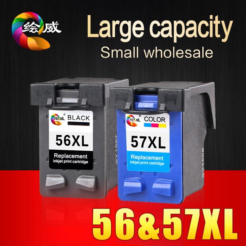 2 Pcs 56XL 57XL for HP 56 57 Ink cartridge ( C6656A & C6657A )use For HP Deskjet 450CI 5550 5552 7150 7350 7000 2100 220 Printer
