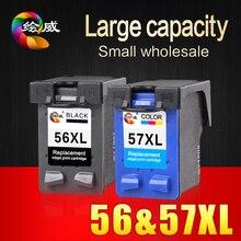 2 unids 56xl 57xl para hp 56 57 cartucho de tinta (C6656A y C6657A) uso para hp deskjet 450ci 5550 5552 7150 7350 7000 2100 220 impresora