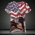 2015 chegada nova T shirt dos homens de verão roupas casuais de manga curta homem tshirt T - camisas da bandeira dos eua Design de moda de alta qualidade