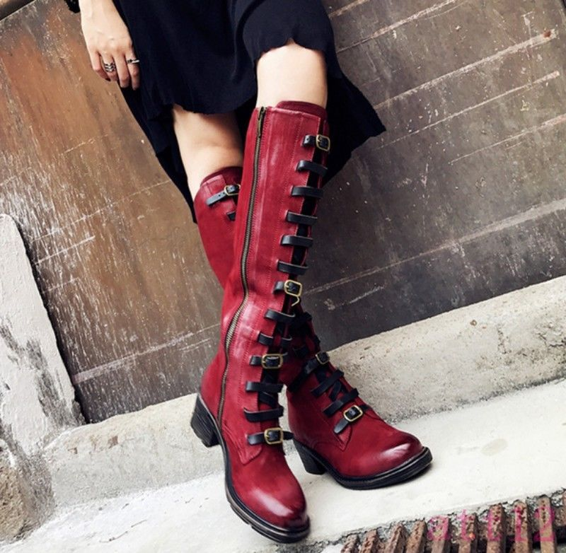 Chic Womens Retro genuine Sheep Leather Buckle Block Strap Knee High Knigh Boot D81Chic Womens Retro genuine Sheep Leather Buckle Block Strap Knee High Knigh Boot D81