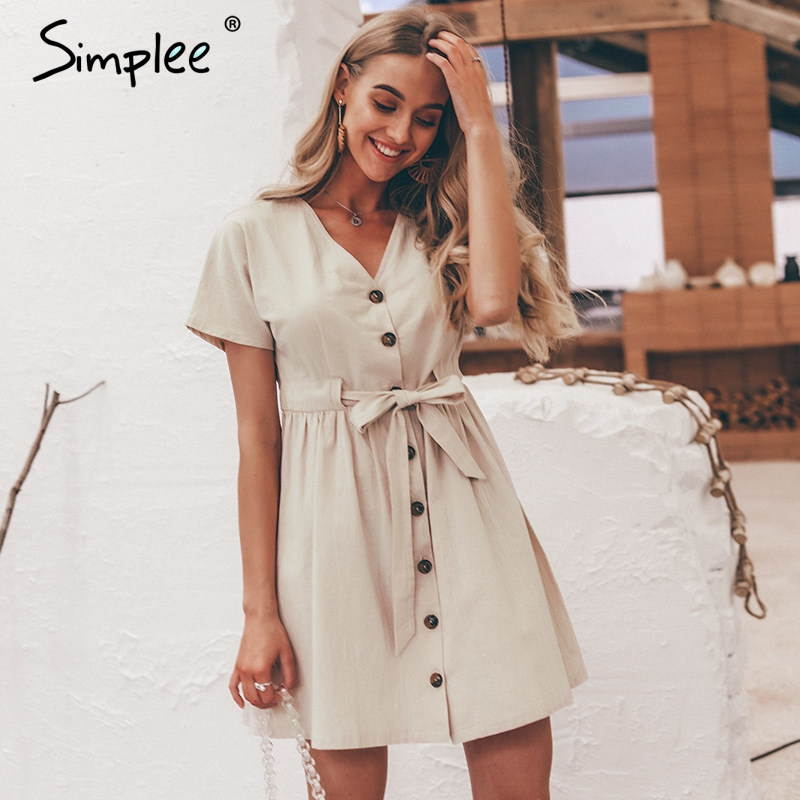 Simplee Vintage button women shirt V neck short sleeve cotton linen summer dresses