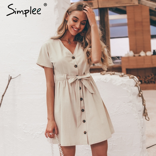 Simplee Vintage button women dress shirt V neck short sleeve cotton linen short summer dresses Casual korean vestidos 2019 festa 1
