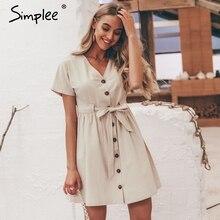 Simplee Vintage tasten frauen kleid hemd V hals kurzarm baumwolle leinen kurze sommer büro kleider Casual koreanische vestidos