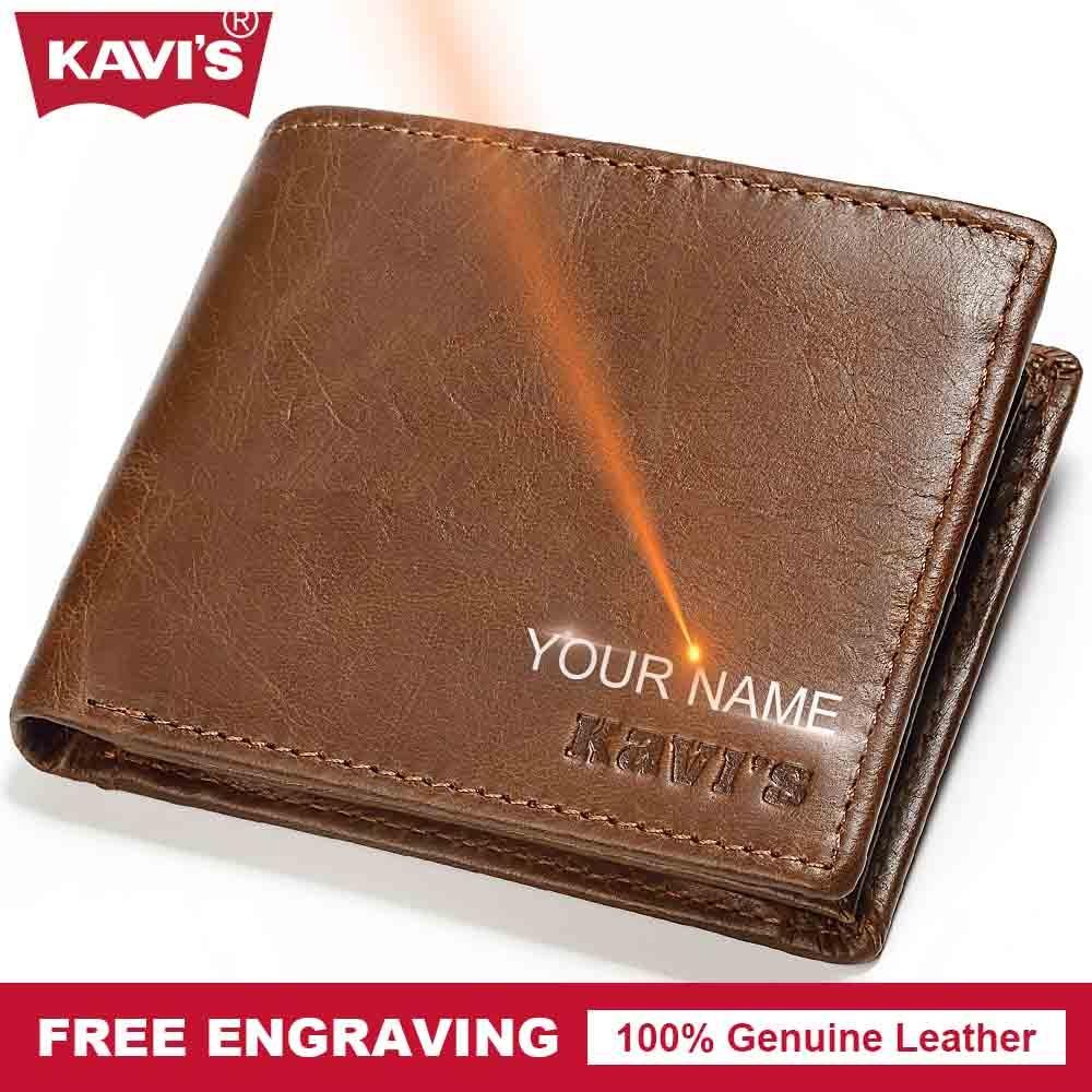 KAVIS Genuine Leather Wallet Men Hasp Portomonee PORTFOLIO Magic Simple Male Cuzdan DIY Gift For Man Slim Card Holder Money Bag casual weaving design card holder handbag hasp wallet for women