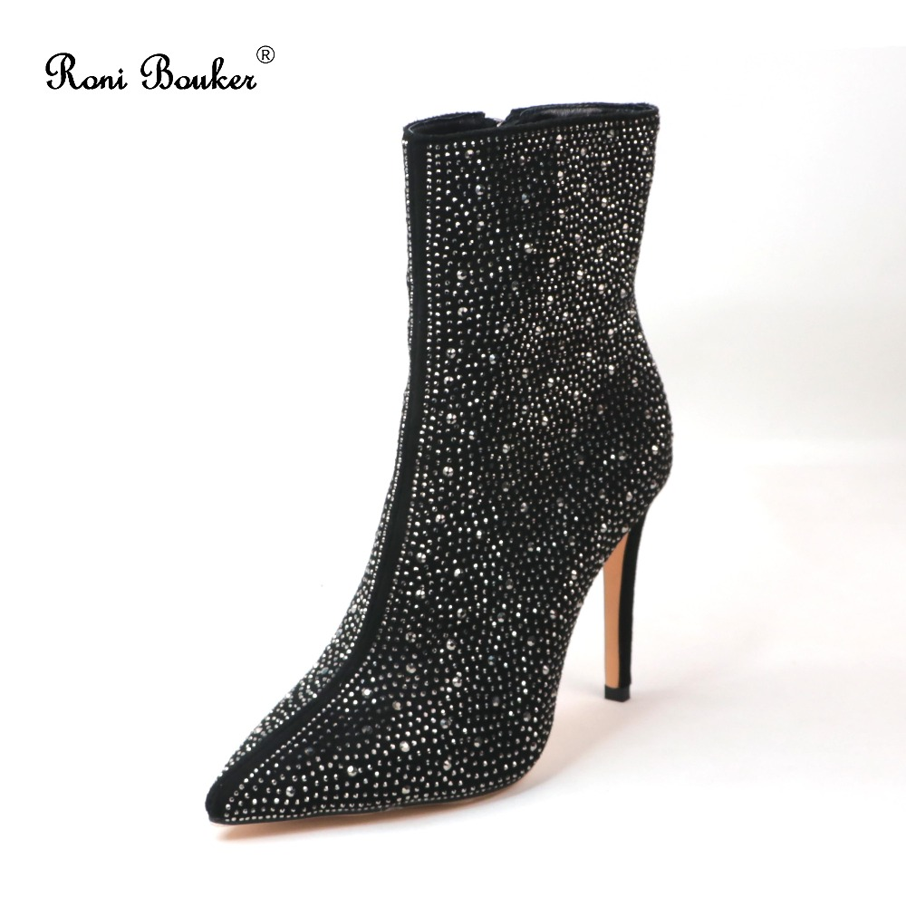 Roni Bouker Drop ship 2018 New Autumn Winter Fashion Female Leather Sexy Pointed Toes High Heels Woman Rhinestone Ankle Booties roni bouker women zipper boots autumn winter snake ankle booties high heels fashion pointed toe ladies sexy shoes 2018 big size