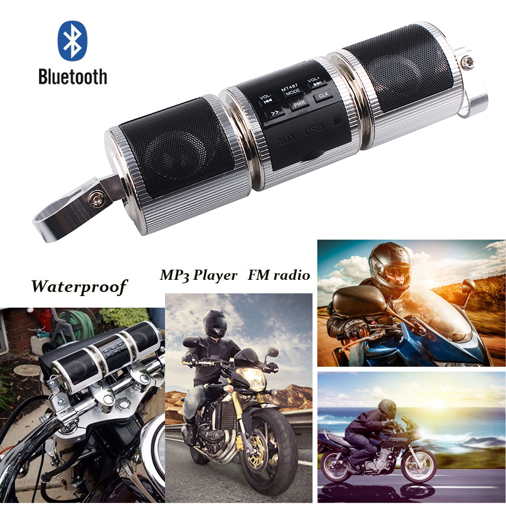 one pcs Motorcycle Waterproof Bluetooth Audio Sound System Stereo Speaker Music Player with FM Radio
