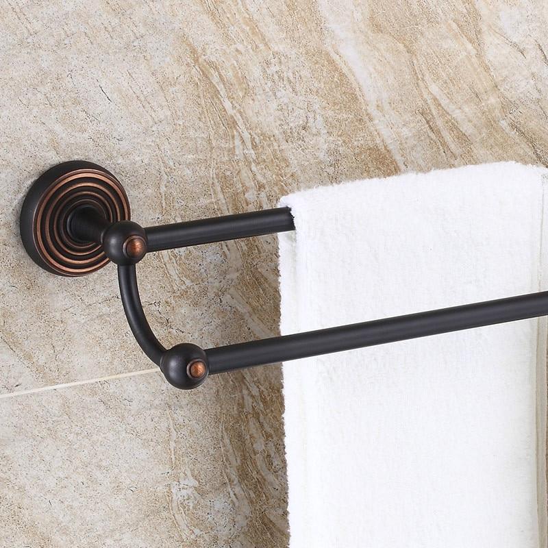где купить  Antique Bronze Black Towel Rack Double Towel Bar Solid Brass Towel Holder Round Base Wall Mounted Bathroom Accessories Sets  дешево