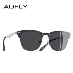 AOFLY BRAND DESIGN Classic Women Sunglasses Retro Vintage Square Metal Frame Unisex Sunglasses Men UV400 A140