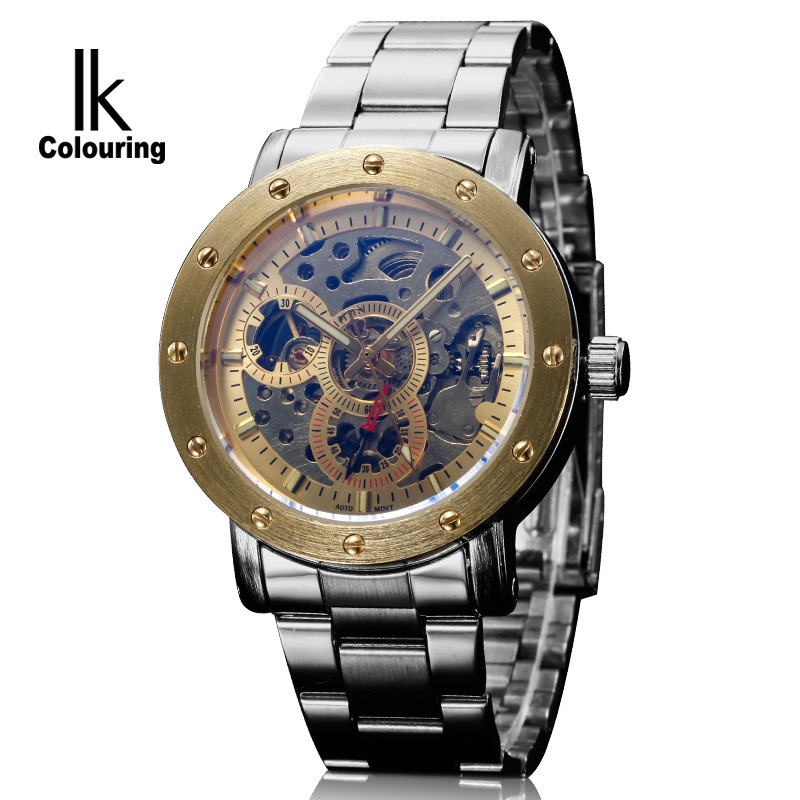 ФОТО mens skeleton watches automatic mechanical male watches business casual man clocks stainless steel waterproof wristwatches
