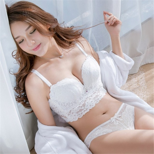 5 breasted full lace brassiere transparent panties sets push up fashion  sexy adjustable female Intimates girls cotton bra set f566539d4
