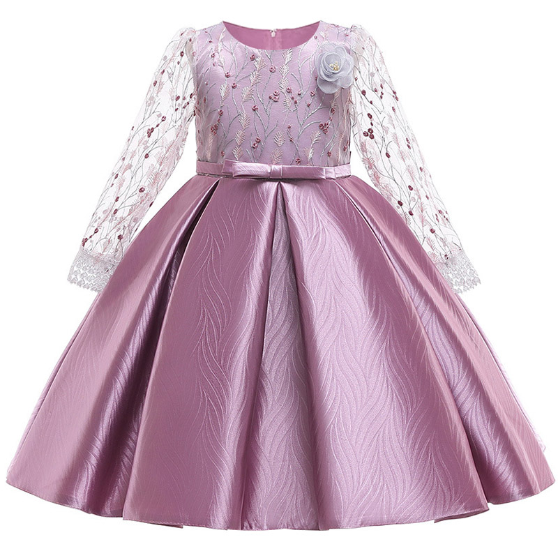 2019 New Long Sleeve Mesh First Communion Dresses For Girls Ball Gown For Kids Little Ladies Clothes Children's Tutu Clothing