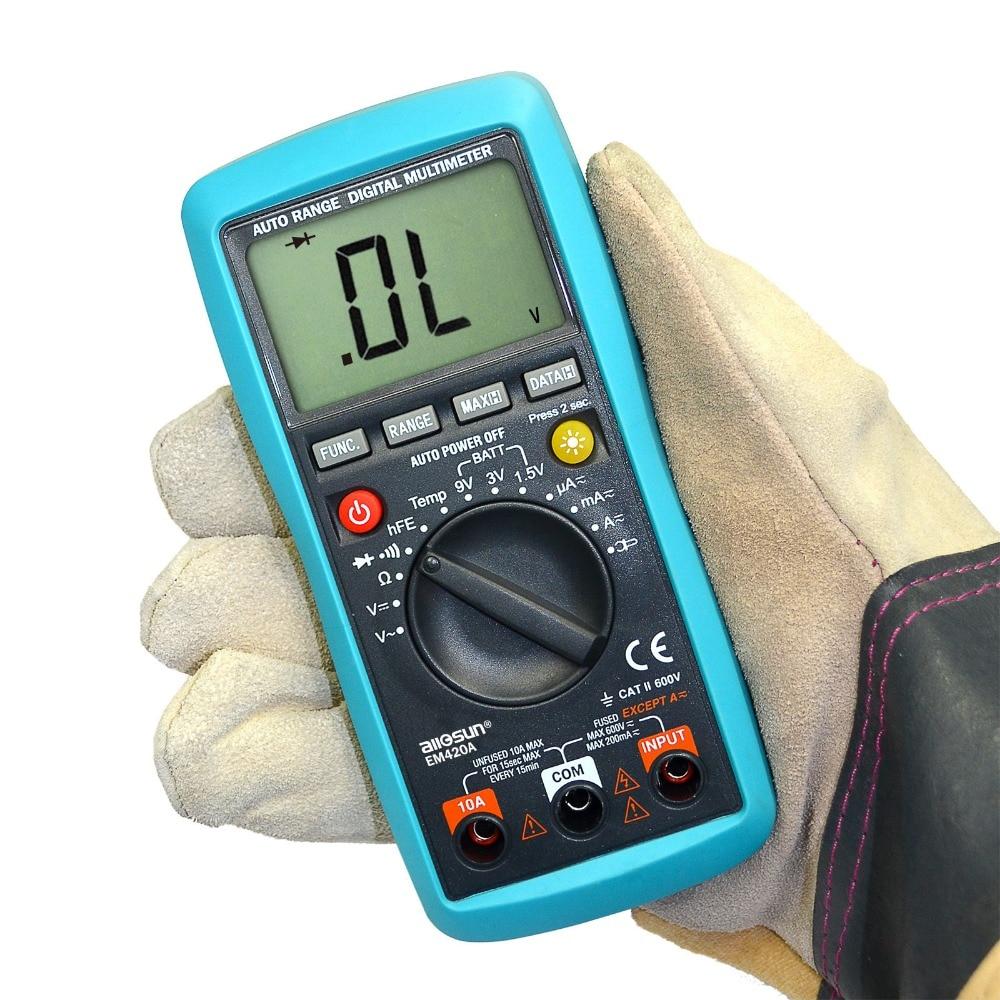 Batteria a transistor a diodo a continuità continua multimete digitale Te AC / DC Amperometro Voltmetro Ohm Misuratore di tensione portatile EM420A