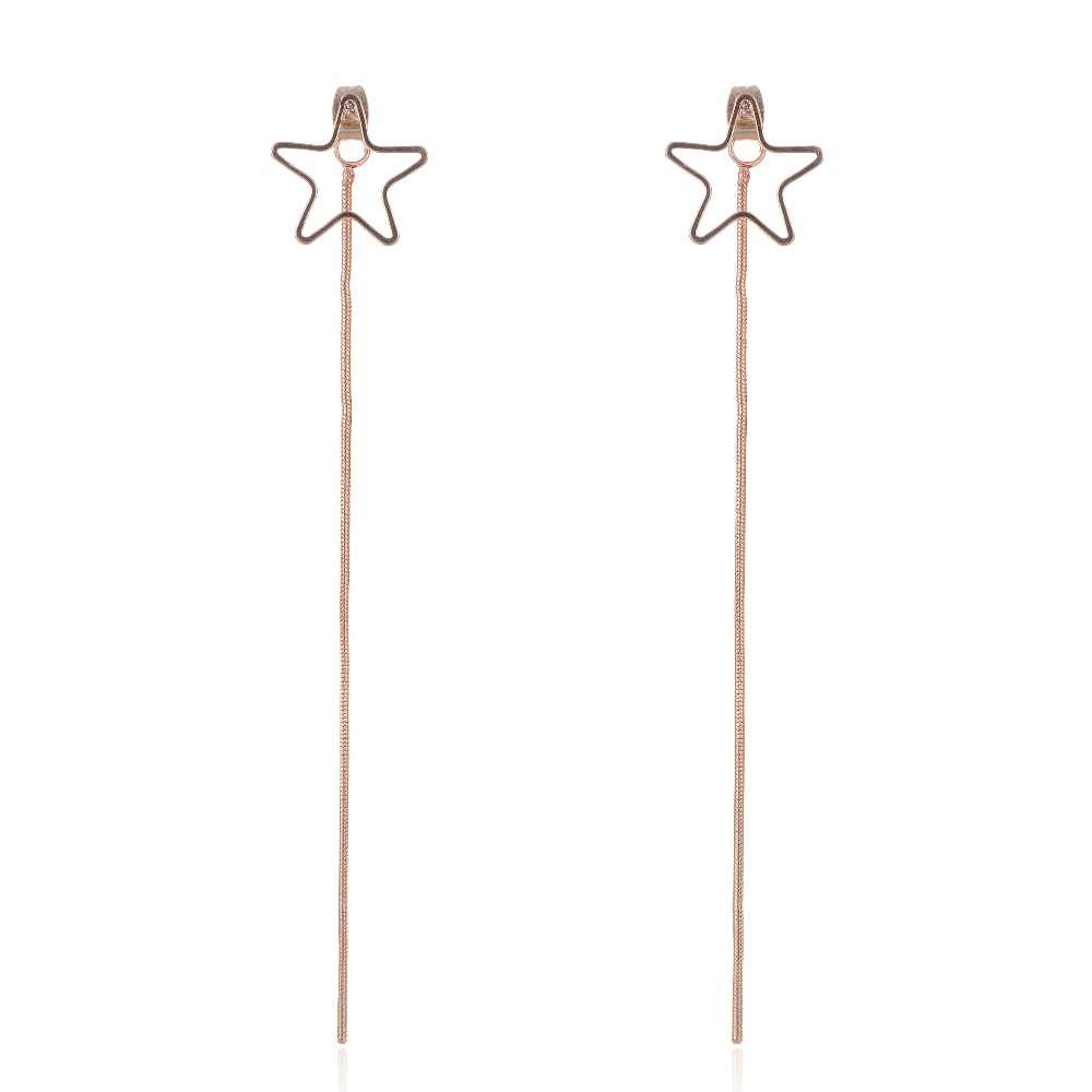 SUKI Boucle d'oreille Pompon Chains Orecchini Nappa Hollow Star Charms Statement Long Earrings Single Tassel Jewelry Women Gift