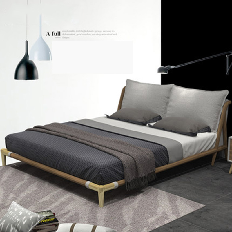 Cloth washable simple modern small full wooden double cloth master bed Furniture