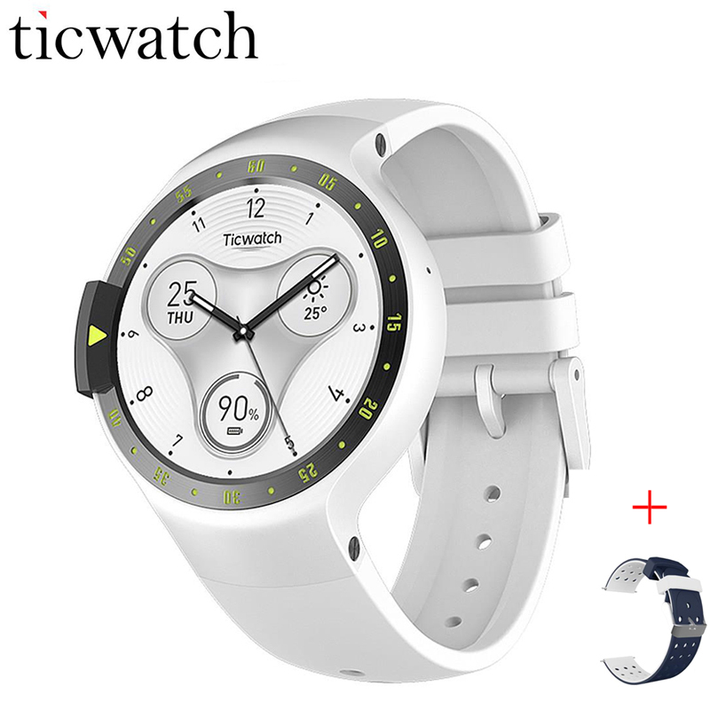 Ticwatch S Glacier Smart Watch Phone Bluetooth 4.1 WIFI GPS Heart Rate Watch Phone Android Wear IP67 Waterproof + One Free Strap