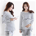 New Style Striped T-Shirt For Maternity Plus Size Loose Home Wear For Pregnancy With Breast-Feeding Design Upper Outer Garment