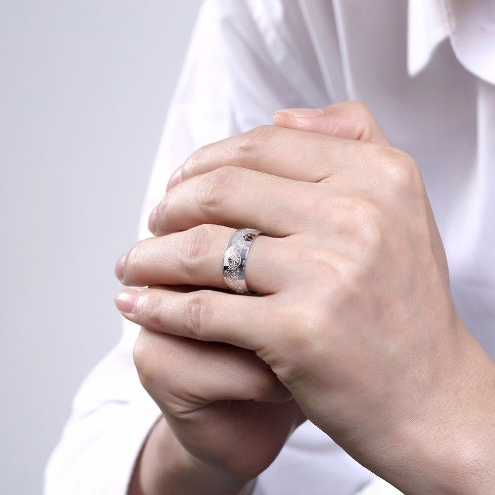 white decorative pattern da024# stainless steel men rings-in Rings ...