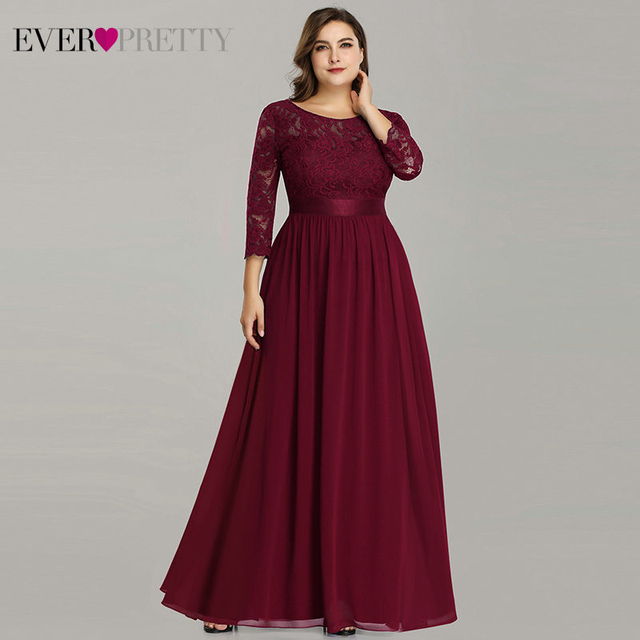 Plus Size Mother Of The Bride Dress Ever Pretty EP07412 Elegant A-Line Chiffon 3/4 Sleeve Lace Long Wedding Party Dresses 1