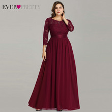 Plus Size Moeder Van De Bruid Dress Ever Pretty EP07412 Elegante A-lijn Chiffon 3/4 Mouwen Lace Lange Bruiloft Jurken(China)