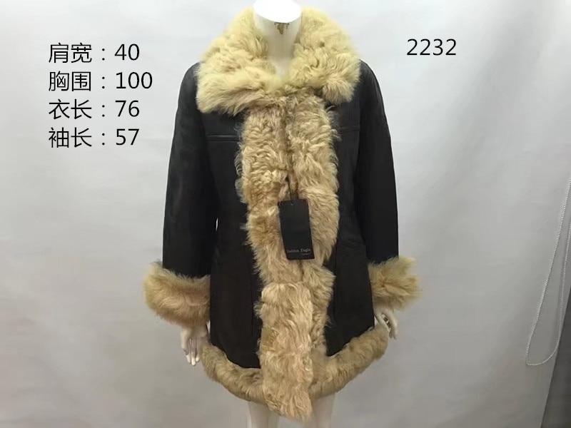 Vintage womens coat genuine sheepskin leather shearing natural wool liner female winter jacket brown on big sales stocked item