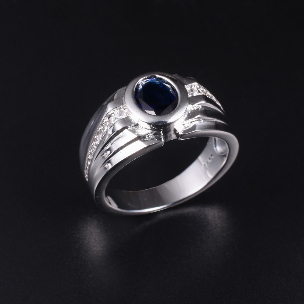 Men's Luxury 925 streling Silver Cushion cut Blue Sapphire Rings Engagement Wedding Band ring jewelry boy Size 8,9,10,11,12,13