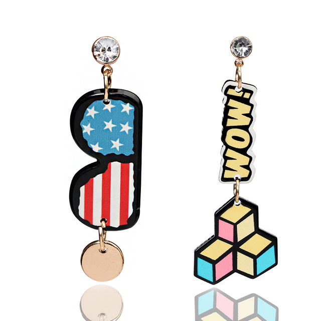 1 set brand new colorful tetris and letter b design crystal dangle drop earings for ladies